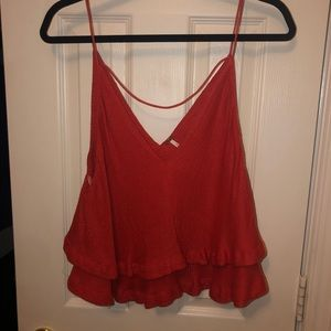 Red free people tank top